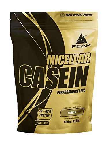 PEAK Micellar Casein Vanilla 500g | 100% natürliches & bioaktives Casein Protein mit Aminos |