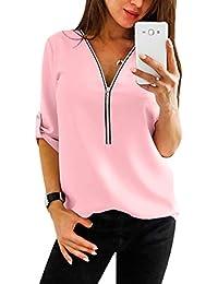 1a6eb0236b67 YOINS Sexy Oberteil Damen Herbst Elegante Langarmshirts Damen Bluse Tunika  T-Shirt V-Ausschnitt