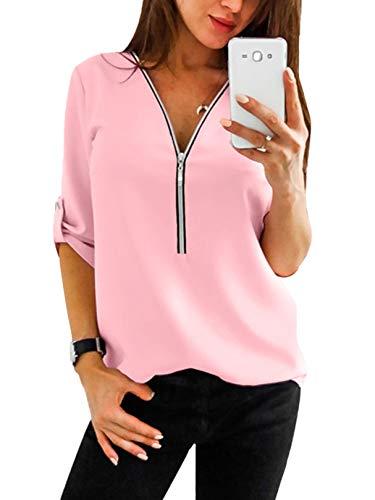 YOINS Sexy Oberteil Damen Herbst Elegante Langarmshirts Damen Bluse Tunika T-Shirt V-Ausschnitt Tops Rosa M/EU40-42