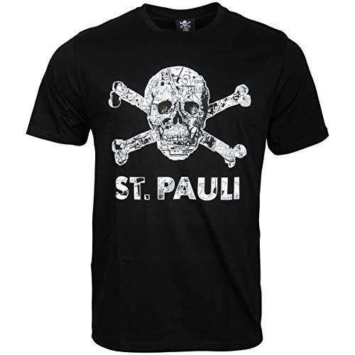 FC St. Pauli Herren T-Shirt Shirt Totenkopf Stadtplan Millerntor Hamburg Schwarz Weiß (XXXL)