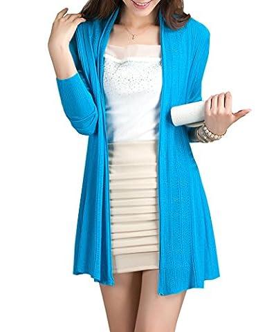 pqdaysun Women's Open Front Long Sleeve Thin Knit Cardigan Lightweight Soft Tops Blue