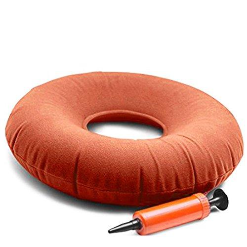 WSS medizinischer Sitzkissenring, aufblasbar, orangefarben, 38,1cm, mit Gratis-Pumpe, geeignet für Rollstühle, Möbel, Sofas, Reisen, medizinische Stütze beim Wundliegen
