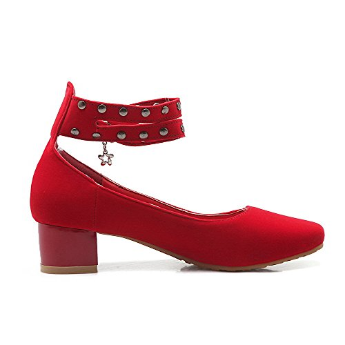 VogueZone009 Damen Mattglasbirne Quadratisch Zehe Niedriger Absatz Schnalle Pumps Schuhe Rot