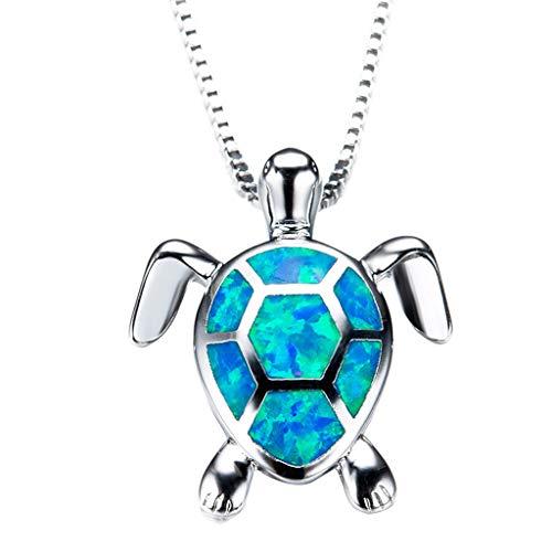 WHSHINE Halskette der Frauen, Mode Niedliche Opal Turtle Anhänger Pullover Halskette Schmuck Damenkette Kettenanhänger Geschenke Schöne Festival Geschenk