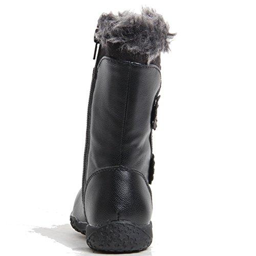 donna zip similpelle caldo STRASS SINTETICO bordo in Pelliccia Stivali altezza metà polpaccio Nero