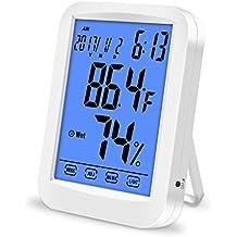 Lanhiem Termómetro Higrómetro Digital, Monitor de Humedad con Gran LCD Pantalla Táctil y Retroiluminación, Función Reloj de Alarma - Medidor de Humedad Temperatura de Interior para Casa y Oficina
