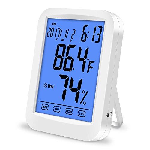 Thermometer Hygrometer, Lanhiem Indoor Digitales Thermo-Hygrometer Monitor Temperatur und Luftfeuchtigkeit, Großer LCD-Touchscreen, Blau Hintergrundbeleuchtung, Passend für Garten, Kinderzimmer