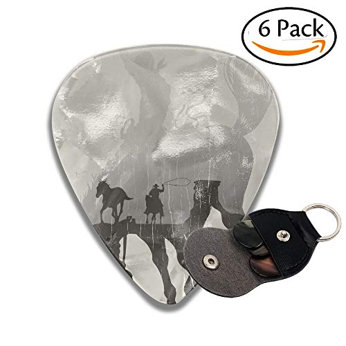 oy Chasing Wild Horse In Desert On A Rodeo Cowboy Dust And Black Stylish Celluloid Guitar Picks Plectrums For Guitar Bass 6 Pack.96mm ()