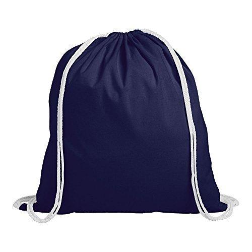 1 Kinder Cotton Kordelzug Rucksack - Turnhalle, Schwimmen, Sport, PE, Schulranzen Blau