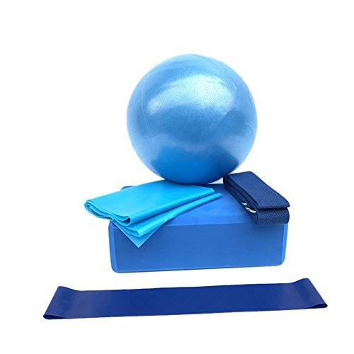 5 In 1 Yoga Sets,Klein Gymnastikball Mini Balance Ball Kernball(Yoga Ziegel Ball Yoga Spannband Yoga Stretch Band Widerstand Ring)