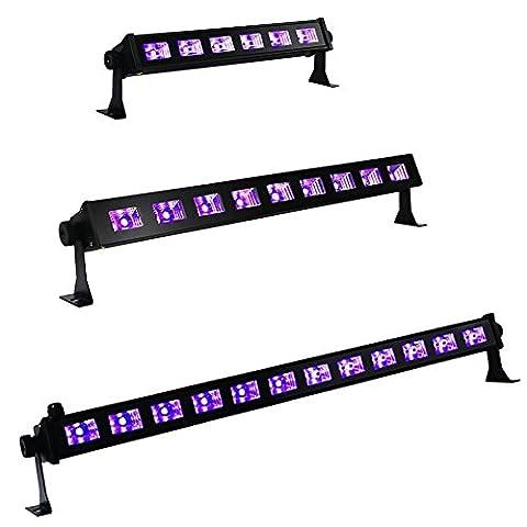 YomyRay Black Light UV Bar Lighting Glow Neon Stage LightingSound Contrôle activé Utilisation pour les décorations de fête Halloween Christmas Festival Club disco DJ light (12 LED UV)