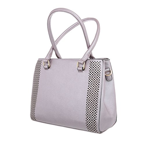 iTal Lila dEsiGn Kunstleder Schultertasche Mittelgroße Grau K702 Handtasche TA Damentasche w68nr8xdBC
