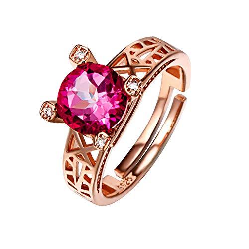 Yanglan anello gioiello rosa con apertura in argento sterling 925, anello regolabile con diamante topazio rosa premium, anello di fidanzamento/fede nuziale