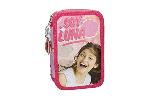 Soy luna astuccio scuola rosa triplo 3 zip completo di accessori vz586