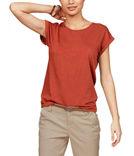 Polyester S/s Shirt (TrendiMax Damen T-Shirt Einfarbig Rundhals Kurzarm Sommer Shirt Locker Oberteile Basic Tops (Ziegelrot, S))