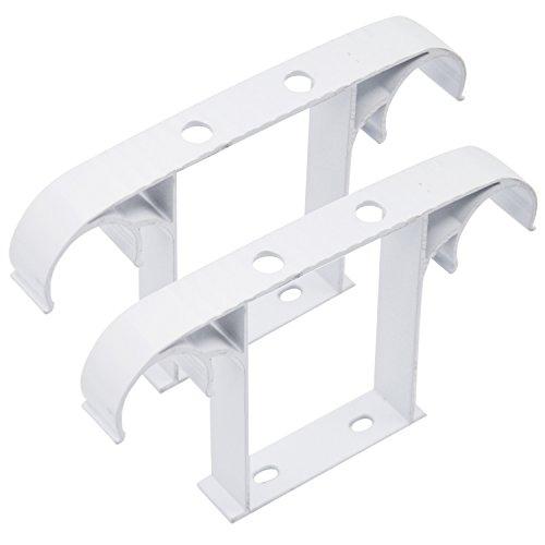 Gosear 2 piezas Cortina Polo Techo Montado Poste / Barra de Cortina Soporte de Aleación de Aluminio Doble,Blanco