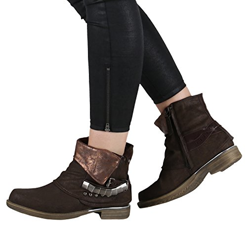 ... Damen Stiefeletten   Biker Boots Schnallen Nieten   Knöchelhohe Stiefel  Leder-Optik Dunkelbraun Braun ... 21867095e6