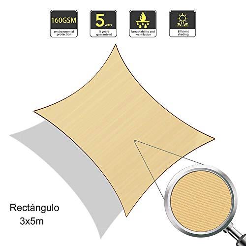 Sunnylaxx tenda a vela rettangolare 3 x 5 metri, impermeabile e resistente, per spazi all'aperto, color sabbia