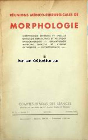 REUNIONS MEDICO CHIRURGICALES DE MORPHOLOGIE [No 5] du 01/01/1937 - MORPHOLOGIE GENERALE ET SPECIALE - CHIRURGIE REPARATRICE ET PLASTIQUE - ENDOCRINOLOGIE - DERMATOLOGIE - MEDECINE SPORTIVE ET HYGIENE - ORTHPEDIE - PHYSIOTHERAPIE.