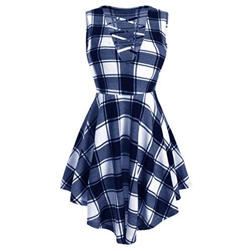 ckabilly Kleid Jersey Sommerkleid Abendkleid Piebo Frauen Gitter A-Line Partykleider Lace Up Cosplay Kostuem Punk Lolita Mittelalter Schulterfrei Cocktailkleid ()