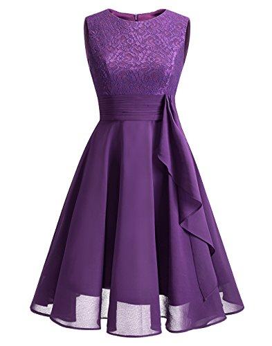 BeryLove Frauen Chiffon Spitzen Brautjungfer kleid kurz Ruched Prom Gown BLP1133 Grape XL (Kleider Für Frauen, Die Brautjungfer)