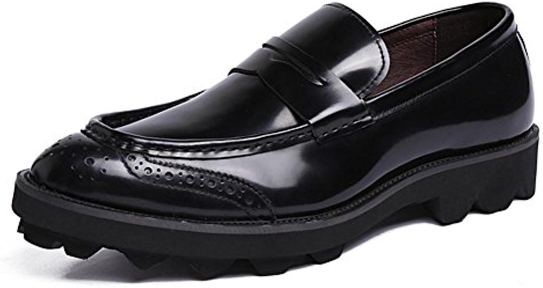 XIE Hombres Toro castrado Cuero Zapatos Puntiagudo Dedo del pie Oxford Grueso Fondo Ponerse Formal Boda Negocio... -