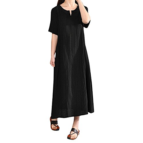 Lolittas Summer Maxi Cotton Linen Dresses for Women, Vintage V Neck Occasion Prom Cocktail Tunic Swing A-Line Ruffles Dress