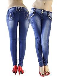 Vaquero Azul Lavado Intenso Shape Up Vaquero Wonder Súper Push up Pierna Slim Skinny Jeans Vaquero Colombiano 100% Levanta Glúteos- Push Up Pierna Recta