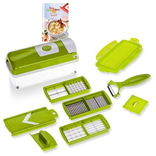 Rallador Genius Nicer Dicer Smart | 10 piezas | corta todo | rallador | cortador | pelador | cortador de cubos | cortador en octavos | cortador de frutas y verduras | anunciado en televisión