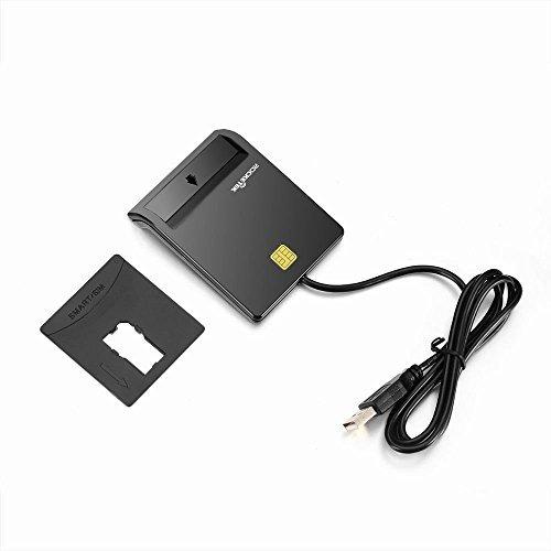 Rocketek elettronico ID - lettore di memory card   CAC Card Reader USB DOD di concezzione militare per l'accesso intelligente, compatibile con Windows (32 / 64bit) XP / Vista / 7/8/10, Mac OS X - USB ID lettore elettronico