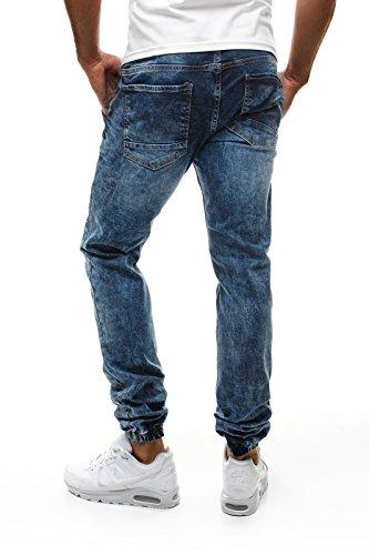 OZONEE Herren Jeans Hose Verwaschen Jogger Slim Fit OTANTIK 139-10 Blau