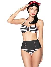 jowiha Vintage Retro 50's Bandeau Bikini Schwarz Weiß oder Blau Rot Weiß Cup B Größe S-XL