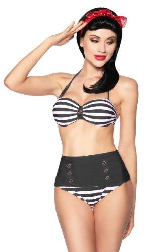 jowiha Vintage Retro 50's Bandeau Bikini Schwarz Weiß oder Blau Rot Weiß Cup B Größe S-XL (Schwarz Weiß, XL)