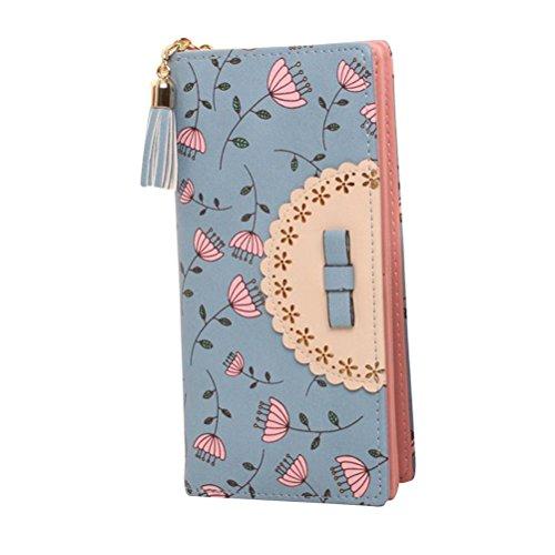 Portefeuille femme bleu Portefeuille cuir Portefeuille long Portefeuille zip Portefeuille étui en PU Cuir Sac à Main pour femme fille