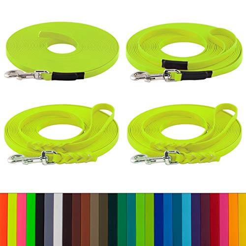 LENNIE BioThane Schleppleine, 2m, Neon-Gelb, 16mm für große Hunde, genäht/geflochten, Handschlaufe & Karabiner wählbar