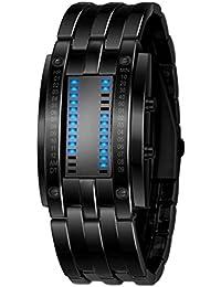 Relojes Hombre,Xinan Acero Inoxidable Relojes Deportivos de lujo LED Digital Pulsera (Negro)