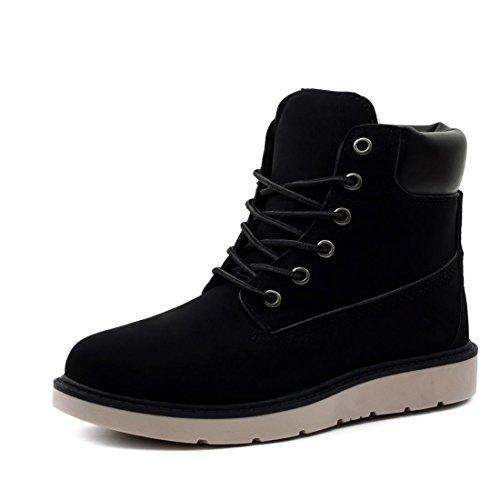 Marimo Unisex Damen Worker Boots Schnür Stiefeletten High Top Sneaker in Lederoptik warm gefüttert Schwarz 36 (Timberland Fake Boots Für Frauen)