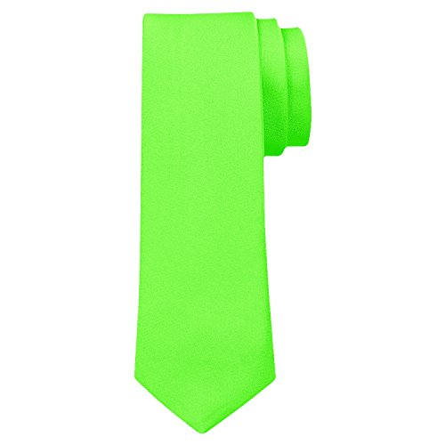 OM3™ TRENDY SKINNY TIE/Modische schmale dünne Krawatte in über 30 Farben Colors Party Business Schlips Handmade Smoking Anzug Unisex, Neongrün, ca.140cm x 4,5cm