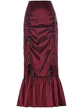 Yafex Faldas Victoriana Maxi Sirena Pliegues Plisada Vintage Elástica ES000208
