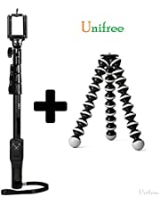 Unifree YT-1288 Adjustable Selfie-Stick-Monopod and 13 Inches Gorilla Tripod Stand & Holder for Smartphones Mobile & DSLR Cameras with Bluetooth Remote Shutter(Combo)