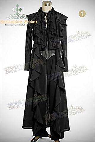 Longue veste noire avec ailes de dragon en cuir synthétique élégante gothique - MAN M