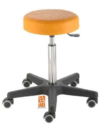Arbeitshocker, Arzthocker, Drehhocker, Rollhocker Modell comfort, Hubbereich ca. 54 -73 cm, Rollen mit weicher Radbandage, Sitzfarbe mais