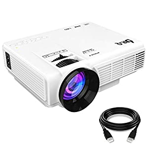 DR.Q Projector, Mini Projector, Upgraded 3200 Lux Video Projector with 170 Inch 1080P Support, Upgraded Lamp Life, Supports HDMI VGA AV USB TF Devices, Home Theater Projector, White.