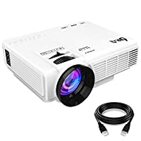 DR.Q Projector (2018 Upgraded) +20% Lumens Video Projector 170 Inch 1080P Support, 40000 Hours Lamp Life, Compatible TV Stick HDMI VGA USB AV TF Device, White.