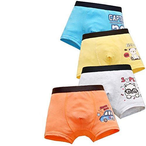 IKRR 4Pcs Calzoncillos para Niños Unisexos Animales Algodón (L/6-8 años/12-24kg, Color distintos)