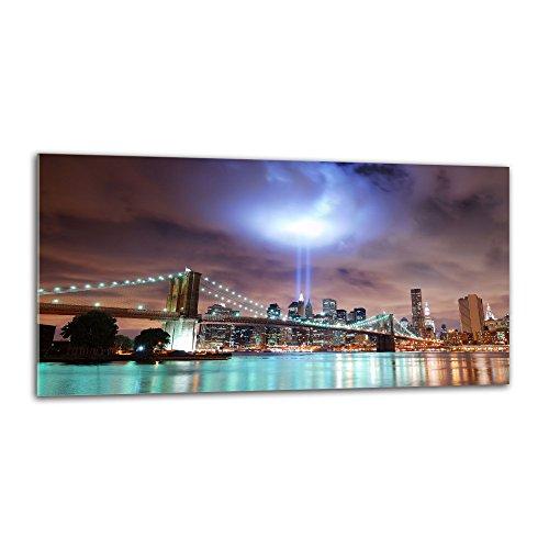decorwelt Küchenrückwand Spritzschutz aus Glas 80x40 cm Wandschutz Herd Spüle Küchenspritzschutz Fliesenschutz Fliesenspiegel Küche Dekoglas New York Schwarz Blau