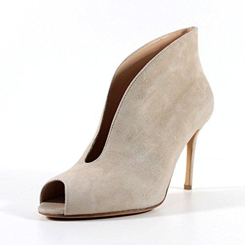 GIORGIO REA handgemachte offen Stiefeletten Schuhe in Italien High fashion hohe Qualität Stöckelabsatz (35, Hellbeige) (Italien Schuhe Leder)