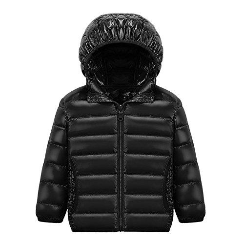 CHIC-CHIC Blouson Manteau Léger Enfant Garçon Fille Doudoune à Capuche - Veste à Manches Longues Sport bébé Ski Vêtement 11-12ans Noir