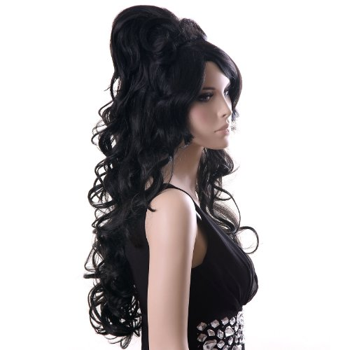 auen Damen Haar Amy Winehouse Wigs Schwarz lockig Lang für Karneval Fasching Cosplay Party Kostüm WFS371 (2 Broke Girls Halloween-kostüme)