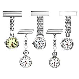 LANCARDO Uhren 5pcs Set, Krankenschwester Armbanduhr FOB-Uhr Damen Taschenuhr Analog Quarzuhr aus Legierung LCD037P020